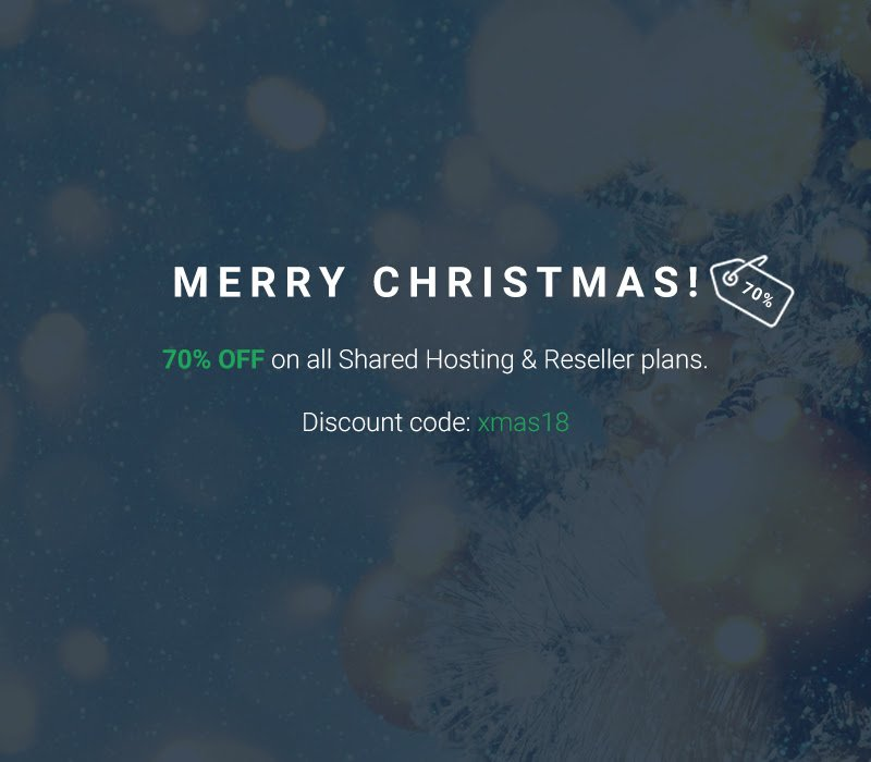 Merry Christmas Get 70% OFF on all Shared Hosting Reseller Plans